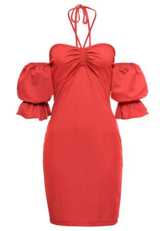 Letnia sukienka z ramiączkami wiązanymi na szyi bonprix czerwony