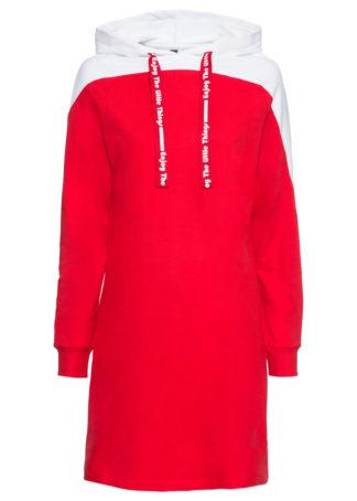 Sukienka dresowa bonprix truskawkowo-biały