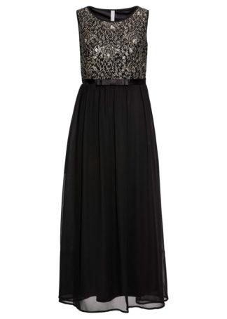 Długa sukienka z cekinami bonprix czarno-złoty