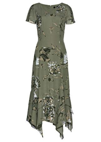 Długa sukienka w kwiaty bonprix oliwkowy z nadrukiem