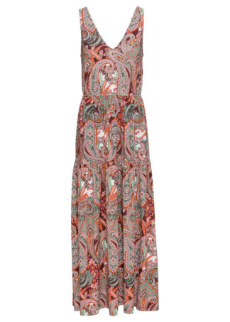 Długa sukienka z dżerseju bonprix czerwony paisley