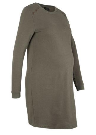Sukienka ciążowa dresowa bonprix ciemnooliwkowy