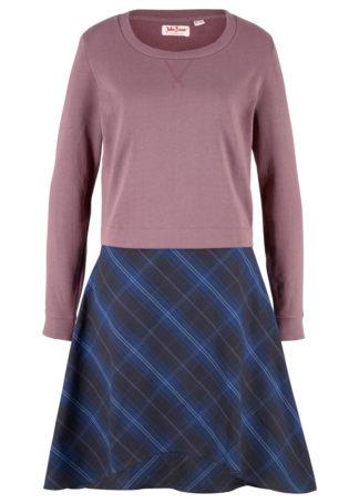 Sukienka dresowa w optyce 2 w 1 bonprix matowy fioletowy