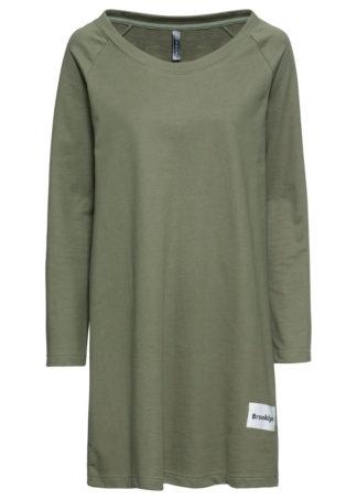 Sukienka dresowa bonprix oliwkowo-biały