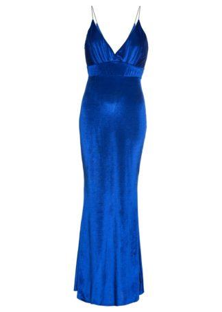 Długa sukienka aksamitna bonprix niebieski