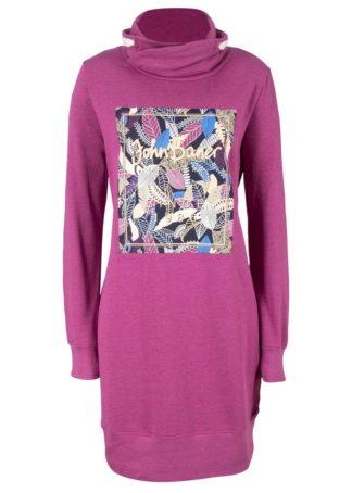 Sukienka dresowa z nadrukiem bonprix fioletowa orchidea melanż