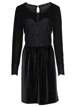 Aksamitna sukienka z koronką bonprix czarny