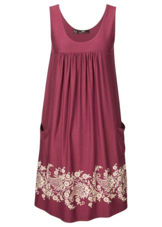 Sukienka ze stretchem i nadrukiem bonprix czerwony rododendron z nadrukiem