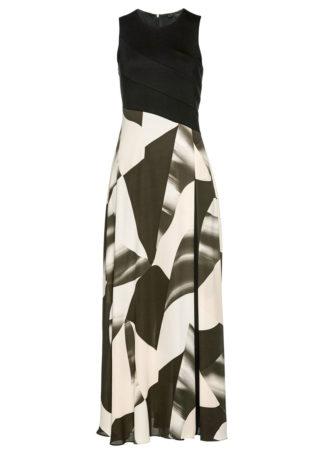 Długa sukienka z szyfonu bonprix czarno-bladoróżowy