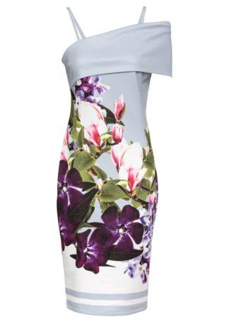 """Sukienka """"carmen"""" w kwiaty bonprix kolor bzu - lila-biały w kwiaty"""