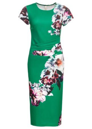 Sukienka w kwiaty bonprix zielony miętowy w kwiaty