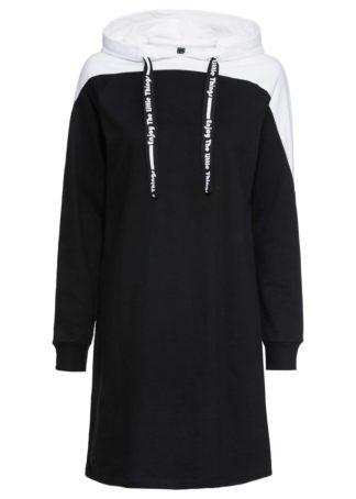 Sukienka dresowa bonprix czarno-biały