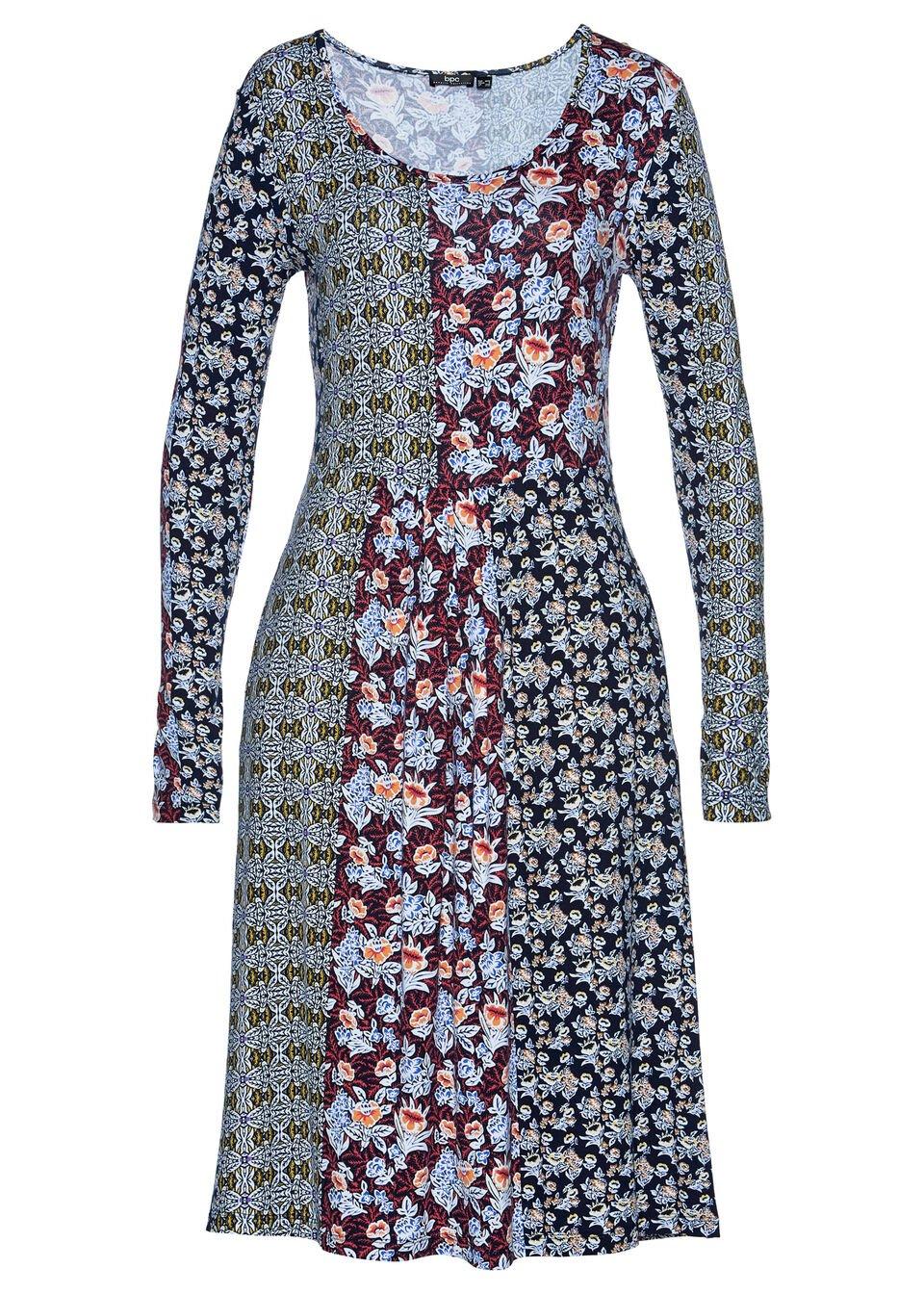 Sukienka shirtowa z nadrukiem bonprix ciemnoniebiesko ciemnoczerwony w kwiaty 937454