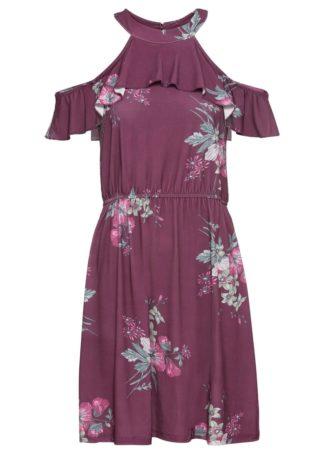 Sukienka cold-shoulder bonprix jeżynowy w kwiaty