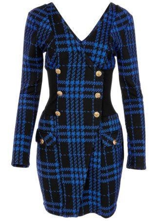 Sukienka z guzikami w złotym kolorze bonprix czarno-niebieski w kratę