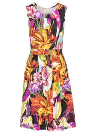 Krótka sukienka bonprix czarny w kwiaty