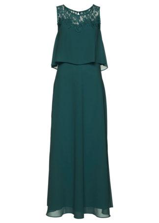 Długa sukienka z koronką bonprix niebieskozielony
