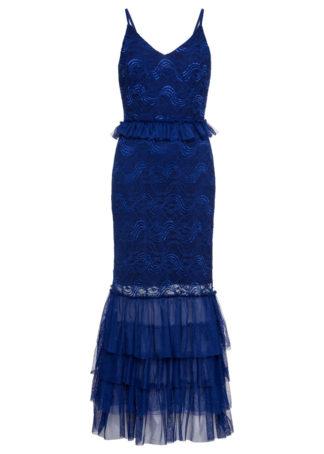Długa sukienka wieczorowa z koronką bonprix ciemnoniebieski