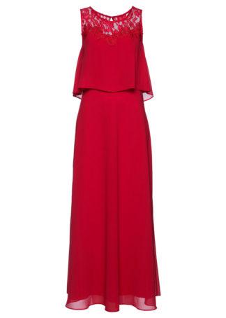Długa sukienka z koronką bonprix czerwony
