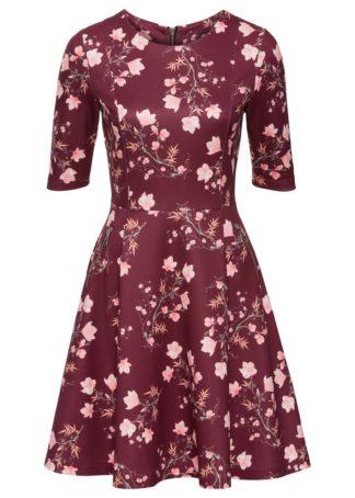 Sukienka neoprenowa bonprix czerwony rododendron z nadrukiem