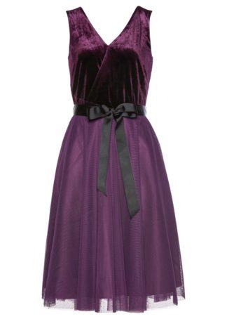 Sukienka aksamitna z tiulową wstawką bonprix czarny bez