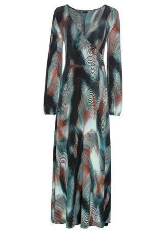 Długa sukienka z efektem założenia kopertowego bonprix niebieskozielono-rdzawy z nadrukiem