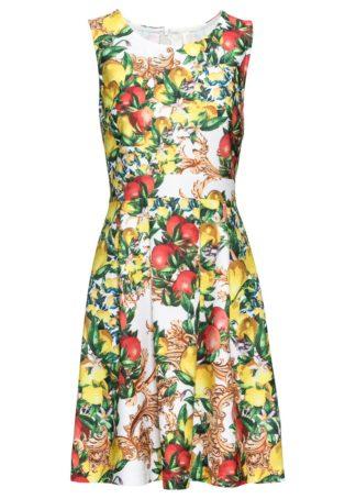 Sukienka z nadrukiem cytryn bonprix biało-żółty