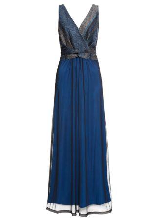 Długa sukienka wieczorowa z kolorowym brokatowym zdobieniem bonprix niebieski