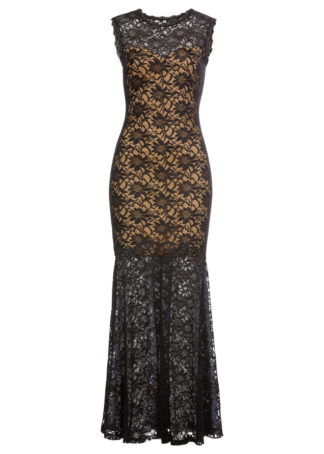 Długa sukienka wieczorowa z koronką bonprix czarny