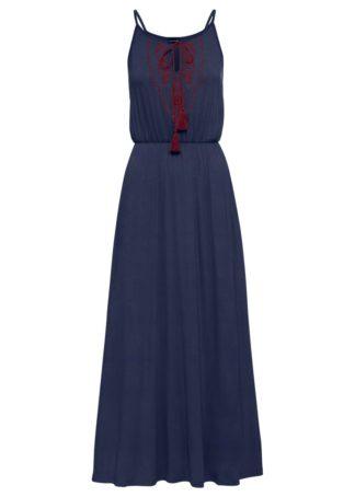 Długa sukienka z dżerseju bonprix ciemnoniebiesko-bordowy
