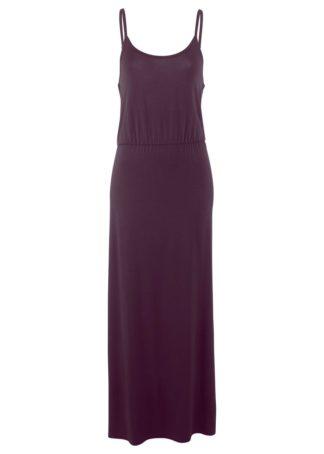 Długa sukienka z lejącej wiskozy bonprix czarny bez