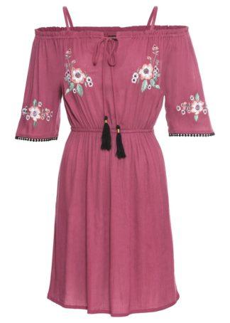 "Sukienka ""cold-shoulder"" z haftem bonprix jagodowy"