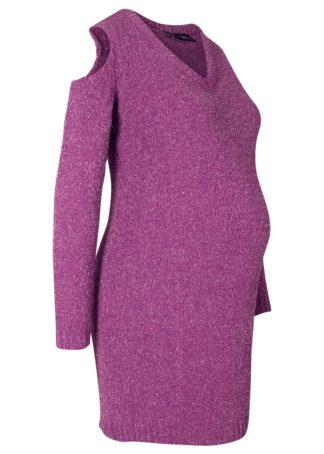 Sukienka ciążowa z szenili z lureksową nitką bonprix fiołkowy lila - srebrny