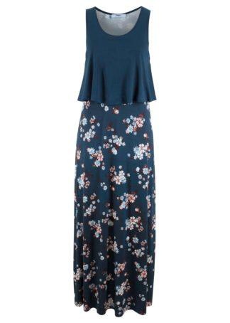 Długa sukienka shirtowa warstwowa bonprix ciemnoniebieski z nadrukiem