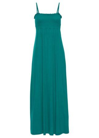 Długa sukienka z marszczeniem cienkimi gumkami bonprix ciemnoszmaragdowy