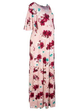 Długa sukienka shirtowa ciążowa bonprix jasnoróżowy w kwiaty