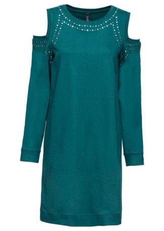 Sukienka cold-shoulder z ćwiekami bonprix niebieskozielony