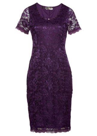 Sukienka koronkowa Premium bonprix ciemny lila