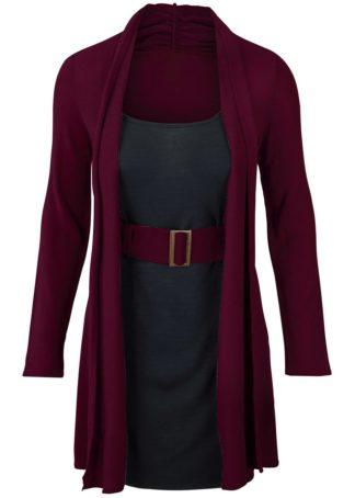 Sukienka dzianinowa bonprix jeżynowo-czarny