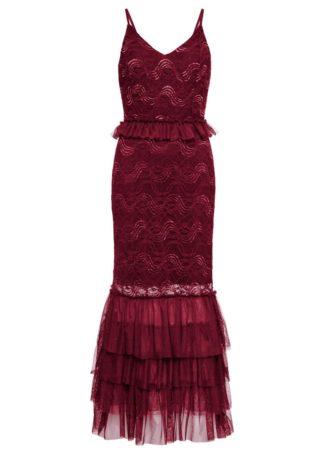 Długa sukienka wieczorowa z koronką bonprix czerwony klonowy