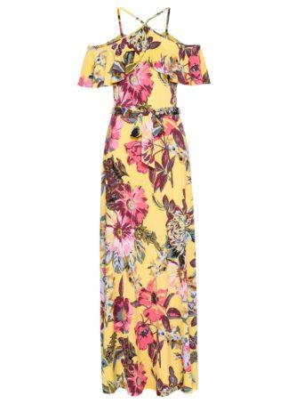 Długa sukienka z falbaną bonprix żółty w kwiaty