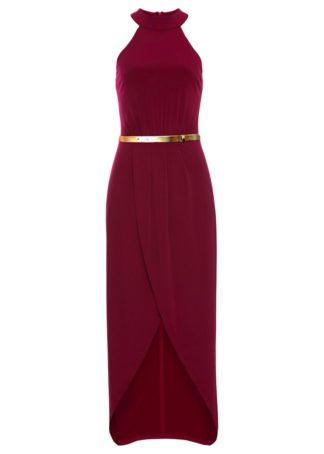 Długa sukienka z dekoltem halter bonprix ciemnoczerwony