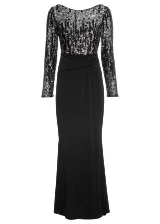 Długa sukienka z cekinami bonprix czarno-srebrny