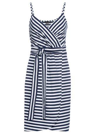 Sukienka kopertowa bez rękawów bonprix ciemnoniebiesko-biały w paski
