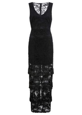 Długa sukienka z frędzlami bonprix czarny