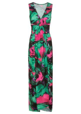 Długa sukienka z nadrukiem bonprix zielono-różowy