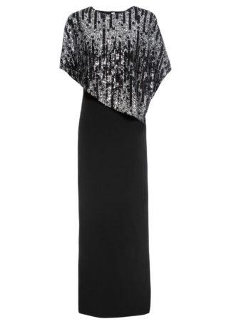 Długa sukienka z cekinami bonprix czarny