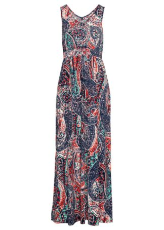 Długa sukienka bonprix ciemnoniebieski z nadrukiem