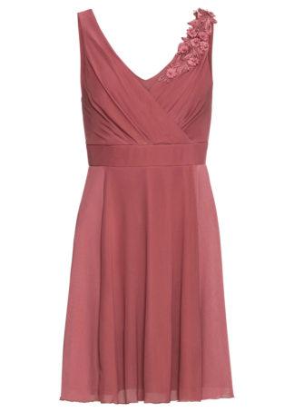 Sukienka z dżerseju z koronkową aplikacją bonprix jasny jeżynowy