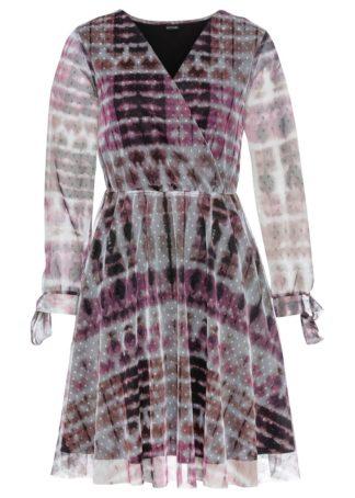 Sukienka z siatkowego materiału bonprix lila z nadrukiem